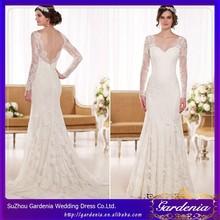 New Arrival Elegant Sweetheart Applique Mermaid Long Sleeve Floor Length Backless Lace Malaysia Wedding Dress(CC3619)