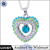 Heart shape rhodium crystal pendant necklace,crystal necklace 2015