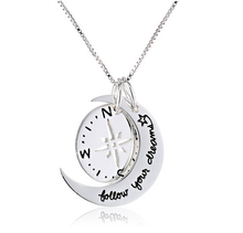 New Hot Selling Two-Piece Compass Follow Your Dreams Pendant Necklace