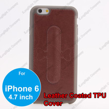 Hot Sell Color Leather Coated PC Hard Back Case for iPhone 6 4.7 inch with Stand