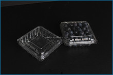 disposible plastic food container/ 125g strawberry punnet/blueberry clamshell disposable clear plastic buleberry container PET
