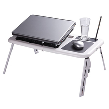 Adjustable Portable Laptop USB Folding Table with 2 Cooling Fans + Mouse Pad