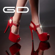 Peep toe lady heels suede red wedding shoes fashion metal decration sandals