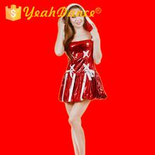 strapless top rojo vender sexy disfraces de navidad