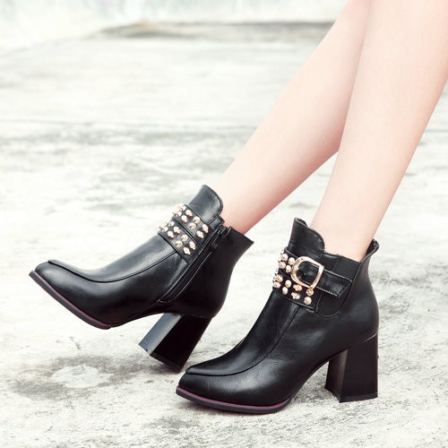 VINLLE 2015 Fashion Style High Heels Ankle Boots For Women Lace-up