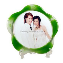 flower shape photo picture frames with green and white color