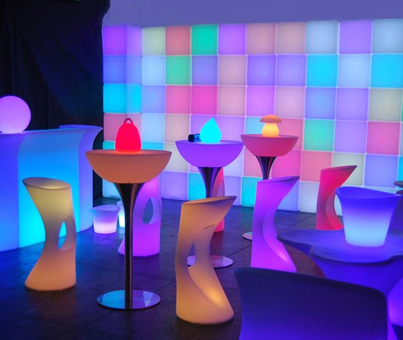 멀티 컬러 방수 LED 발광 빛 벤치 의자/현대 주도 구부러진 바 ...