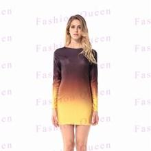 2015Top Sale Dress Women Gradual change Color long sleeve Dress Sexy Skinny Backless Bandage Vestidos De Fiesta
