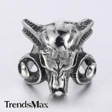 Trendsmax 25 mm PUNK Cool hommes garçons sculpté chèvre animaux crâne corne anneau noir argent Tone acier inoxydable 316L anneau