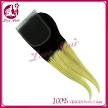 Two Tone Lace Closure Piece natural Wave Cheap Brazilian Virgin Hair