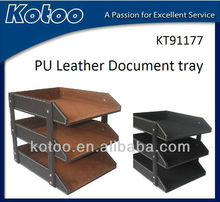 Hot sell PU leather A4 3 tier 4 tier document tray,executive desk organizer