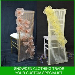 Customized Style Fancy Organza Chair Cover For Wedding Pattern