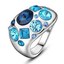 china wholesale fashion jewelry men blue zircon diamond gold tungsten tension ring
