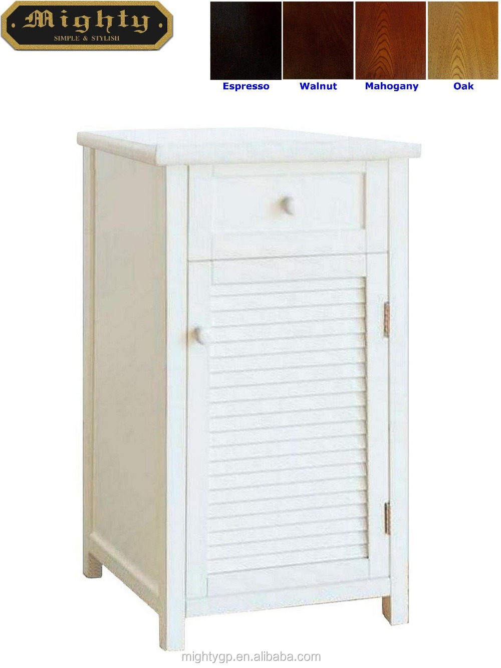No Tools Assembly White One Drawer Blind Door Floor