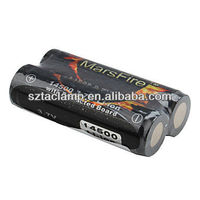 Marsfire 14500 Battery 3.7V Lithium 900mAh rechargeable Flashlight Protected Battery( 2pcs)