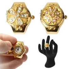 Stylish Finger Ring & Quartz Watch with Lid for Lady Girl