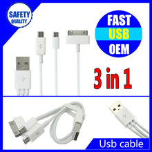 3 in 1 charging usb data cable for smartphone multi-function usb charger cable
