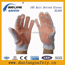 Hot selling PVC Dots Working Cotton Gloves /Linyi Gloves/Bleached White PVC Dots Gloves