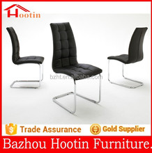 hot sale modern black faux leather and silver chrome plated round tubes dining chair