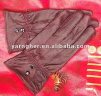 fashion red lady driving genuine sheepskin leather gloves