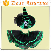 Factory sale halloween witch dress cosplay for girl/Halloween witch dress with hat