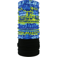 Blue Yellow Letters Winter Fleece Tubular Headwears Bandana