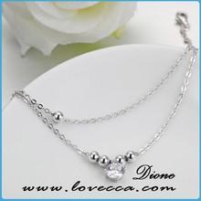 SB- A102 new design 925 sterling silver bracelet,zircon crystal and silver beads thin bracelet