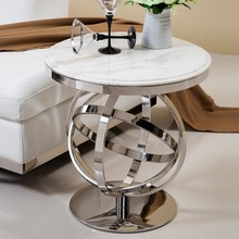 Polishing Stainless Steel Marble Top Coffee Table Modern Living Room Furniture Side Table