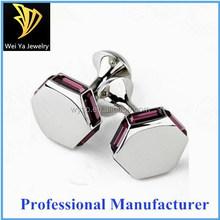Fashion hexagon bolt shape blank stainless steel cufflink