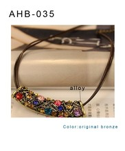 new ancient style fashion colored diamonds half a quarter moon necklace