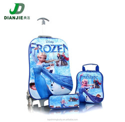 3 in 1 Carton Designs 3D Print EVA Frozen Luggage bags.School children trolley bags,Travel kids lugage