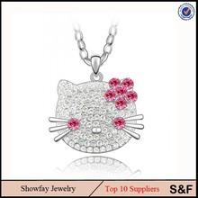 Lovely Cat Shape Pendant Fashion France Band Crystal Long Necklace