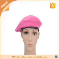 Pink polyesyer cheap military beret hat