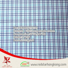 The popular 100% cotton long stapled blue and cyan check fabric 2015