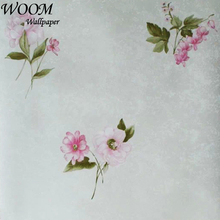 pvc pink flower and green leaf chinoiserie wallpaper