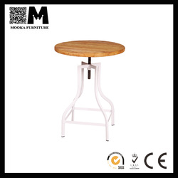 2015 new style furniture modern design barshop table steel frame with timber top metal bar table