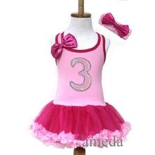 Baby Girls Light Hot Pink Number 3 Birthday Tutu Pettiskirt Party Dress and Headband