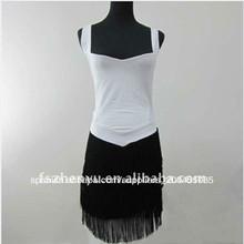 Vestido negro de alta calidad elegante blanco con flecos zy1109 vestido