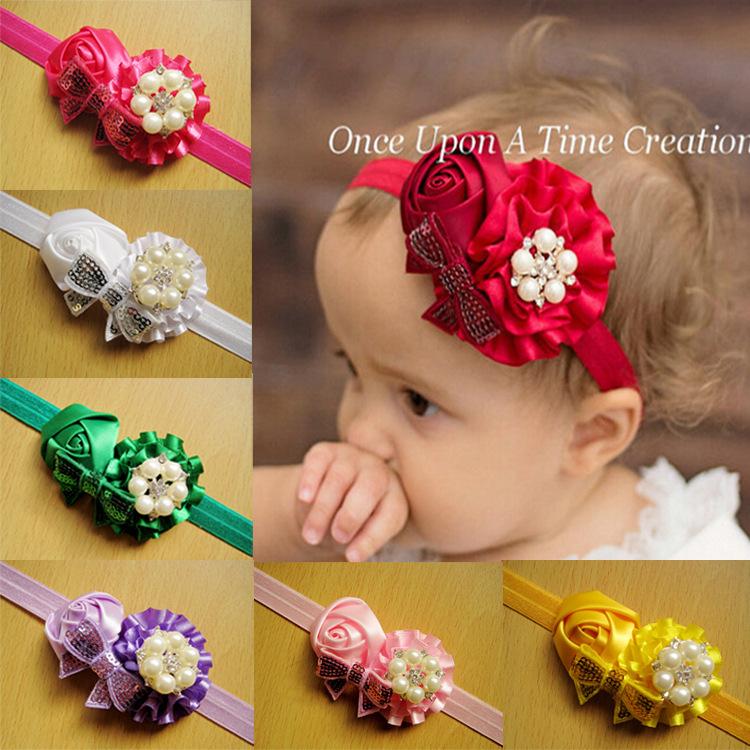 Paillette arcos rosa flor pelo vendas hechas a mano flores niños accesorios para el cabello infantil