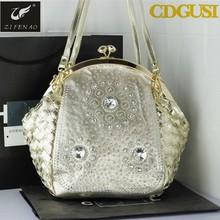 2015 New fashion Noble Women Handbags brand Ladies Knitting Handbags Diamond Bags Gold Pu Bag, Chain Bags