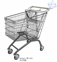 Walmart 125litres Supermarket Shopping trolley with travelator castor with safety belt,Hypermarket shopping cart of Wanzl Type