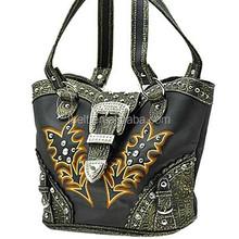 Western Stitched Rhinestone buckle closure Handbag