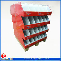 POS wholesale corrugated cardboard display for shoes / shoes paper display / pallet display stand for adidas shoes