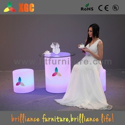 portable bar table/lighting table furniture/led light round table with glass