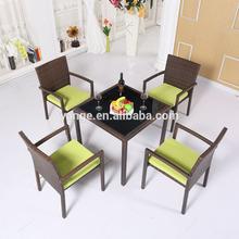 4 posti pe mobili da giardino rattan tabella sedia set con cuscino