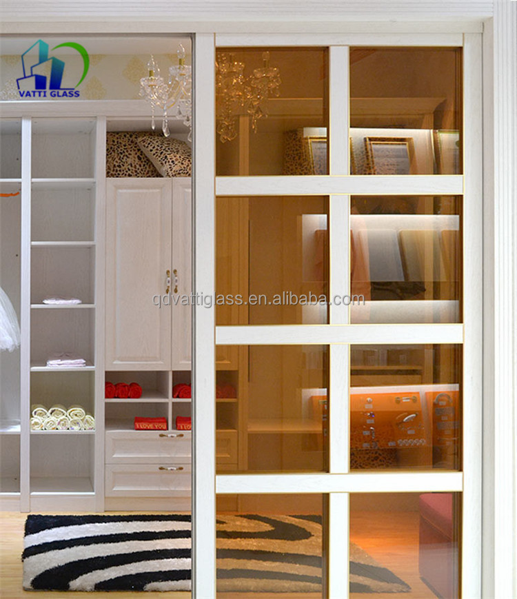 Large Sliding Tinted Glass Doors For Wardrobe Decoration Tinted