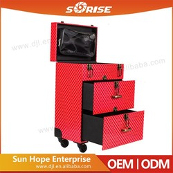 PVC Case Wholesale Multilayer Drawers High Capacity Pilot Makeup Trolley Case