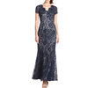 cheap wholesale the clothes women's brief flowy chiffon evening dress 2015 sexy see-through blue black lace and nude dresses