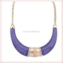latest designs hot sale women purple epoxy resin chain statement choker ethnic necklace jewelry