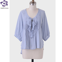 long sleeve ruffle new model neck design of blouses